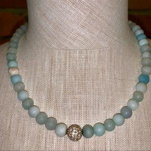 WHBM Aqua Beaded Adjustable Necklace